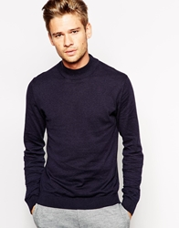 Selected Cotton Turtle Neck Jumper Navy