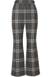 Marni Cropped Checked Wool Flared Pants Dark Gray