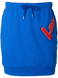 Love Moschino Patch Drawstring Skirt Blue