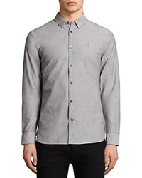 Allsaints Tulare Slim Fit Button Down Shirt Gray