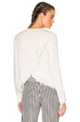 Jenni Kayne Cashmere Fringe Sweater In White