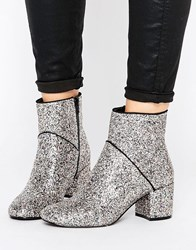 Miss Selfridge Sequin Boot Silver