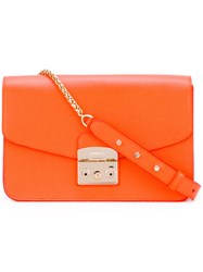 Furla Fold Over Crossbody Bag Women Leather One Size Yellow Orange