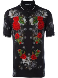 Dolce And Gabbana Flower Patch Polo Shirt Black