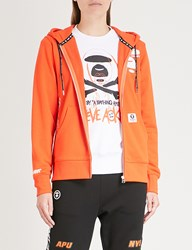 Aape By A Bathing Ape Printed Stretch Cotton Hoody Orange