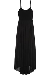 Alice Olivia Leather Trimmed Jersey And Chiffon Maxi Dress