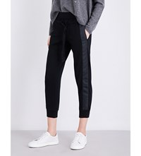 The Kooples Satin Grosgrain Trimmed Jersey Jogging Bottoms Bla01