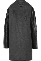 Vince Leather Paneled Wool Blend Coat Gray