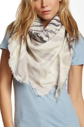 Leigh And Luca Square Fringe Silk Blend Scarf Gray