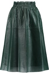 By Malene Birger Locon Perforated Leather Skirt Green