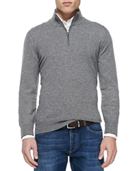 Brunello Cucinelli Cashmere Half Zip Sweater Gray
