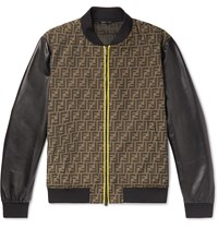 Fendi Slim Fit Paneled Logo Jacquard And Leather Bomber Jacket Brown