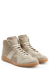 Maison Martin Margiela Maison Margiela Leather And Suede High Top Sneakers Brown