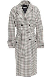 Maje Woman Double Breasted Tweed Coat Beige