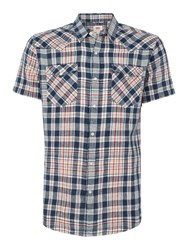 Levi's Men's Barstow Western Checked Short Sleeve Shirt Blue