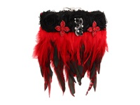 Inspired By Claire Jane Gothic Feather Purse Red Black Onyx And Red Brooch Handbags
