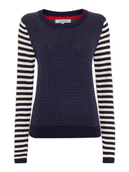 Dickins And Jones Stripe And Fleck Knit Jumper Navy