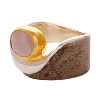 Carousel Jewels Rose Quartz Gold And Silver Pocket Ring Pink Purple
