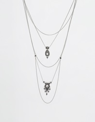 New Look Silver Tri Layered Necklace