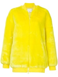 Tibi Luxe Faux Fur Track Jacket Yellow And Orange