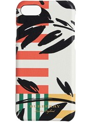 Burberry Floral Stripe Print Leather Iphone 8 Case White