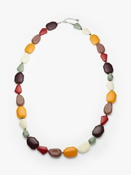 One Button Beaded Long Necklace Multi