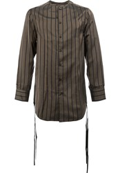 Song For The Mute Striped Tassel Detail Shirt Brown