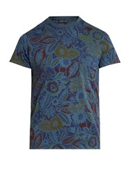 Etro Floral Print Cotton T Shirt Blue Multi