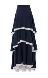 Mds Stripes Silk Cotton Tiered Skirt Navy