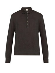Massimo Alba Watercolour Dyed Polo Shirt Black