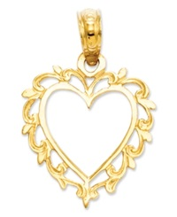 Macy's 14K Gold Charm Lace Trimmed Heart Charm