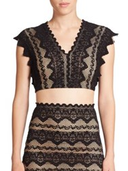Nightcap Clothing Sierra Lace Cropped Top Black Nude