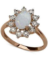 Macy's Opal 3 4 Ct. T.W. And Diamond Accent Oval Ring In 14K Rose Gold