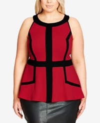 City Chic Trendy Plus Size Outlined Peplum Top Red