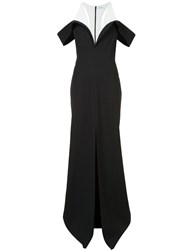 Thierry Mugler Front Slit Bicolour Gown Black