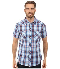 Rock And Roll Cowboy Short Sleeve Snap B1s7264 Blue Men's Short Sleeve Button Up