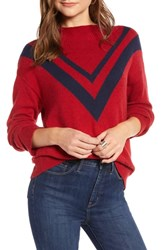 Treasure And Bond Contrast V Stripe Funnel Neck Sweater Red Chili Navy Peacoat Combo