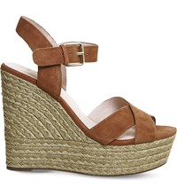 Office Ahoy Suede Wedge Sandals Tan Suede