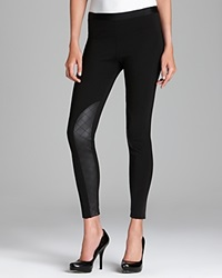 Tag Elemental Tag Leggings Moto Seamed Ponte With Quilted Pleather Leggings Black