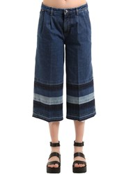 Sonia Rykiel Denim Jeans With Striped Released Hem Blue