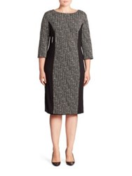 Basler Plus Size Paneled Tweed Dress Black White