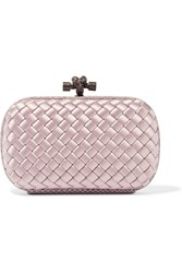 Bottega Veneta The Knot Watersnake Trimmed Intrecciato Satin Clutch Antique Rose