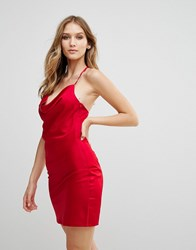 Wyldr Supersticious Corvette Satin Slip Dress With Cowl Neckline Red