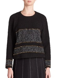Suno Wool Gold Stripe Pullover Gold Striped Boucle