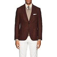 Luciano Barbera Wool Cashmere Flannel Two Button Sportcoat Wine