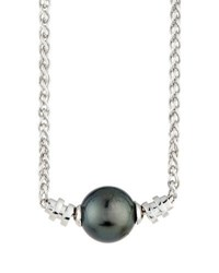 Belpearl 14K Tahitian Pearl Solitaire Necklace Gray