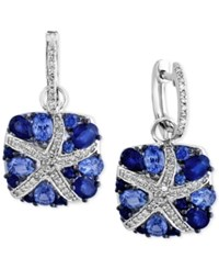 Effy Final Call Ceylon Sapphire 3 7 8 Ct. T.W. And Diamond 1 4 Ct. T.W. Starfish Drop Earrings In 14K White Gold Blue