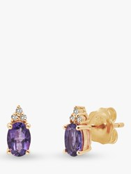 A B Davis 9Ct Gold Amethyst And Diamond Oval Stud Earrings Gold Purple