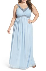 Decode 1.8 Plus Size Women's Embellished V Neck Chiffon Gown