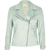 River Island Womens Mint Green Faux Suede Biker Jacket